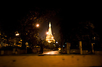 Looking up at Shwedagon Pagoda from the southern entrance.