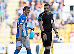 St Johnstone v Hearts&hellip;17.09.16.. McDiarmid Park  SPFL<br />Liam Caig has words with referee John Beaton<br />Picture by Graeme Hart.<br />Copyright Perthshire Picture Agency<br />Tel: 01738 623350  Mobile: 07990 594431