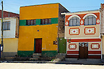 South America, Bolivia, Calamarca. Colorful buildings of Calamarca.