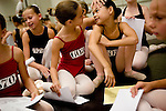 Alicia Day, 10, (left) of Loomis and Emily Tan, 9, (right) of Sacramento celebrate getting parts for the Sacramento Ballet's Nutcracker production on Sunday, September 10, 2006. (Photo by Max Whittaker)