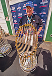29 June 2014:  Vermont Communications and Public Relations professional Bruce Bosley stands with modern era Red Sox World Series Trophies prior to a game between the Vermont Lake Monsters and the Lowell Spinners at Centennial Field in Burlington, Vermont. The Lake Monsters fell to the Spinners 7-5 in NY Penn League action. Mandatory Credit: Ed Wolfstein Photo *** RAW Image File Available ****