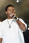 Super Producer Mannie Fresh aka Byron O. Thomas on stage in concert with the Cash Money Millionaires in Dallas, Texas at Reunion Arena July 2001.  Photo credit:  Presswire News/Elgin Edmonds