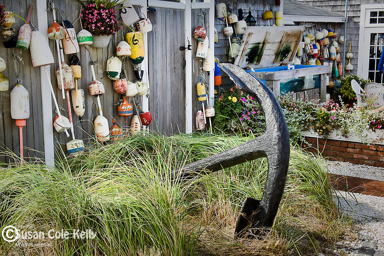 Lobster buoys  in Woods Hole village, Falmouth, Cape Cod, MA, USA