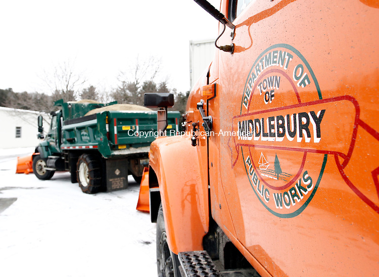 Middlebury, CT- 26 January 2015-012615CM08- A fleet of plow trucks from the Middlebury Department of Public Works lineup in preparation for the winter storm on Monday.    Christopher Massa Republican-American