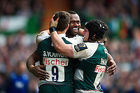 Vereniki Goneva of Leicester Tigers celebrates his second half try with team-mates Ben Youngs and Harry Thacker. European Rugby Champions Cup quarter final, between Leicester Tigers and Stade Francais on April 10, 2016 at Welford Road in Leicester, England. Photo by: Patrick Khachfe / JMP