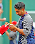 8 June 2012: Washington Nationals pitcher Gio Gonzalez signs autographs prior to a game against the Boston Red Sox at Fenway Park in Boston, MA. The Nationals defeated the Red Sox 7-4 in the opening game of their 3-game series. Mandatory Credit: Ed Wolfstein Photo