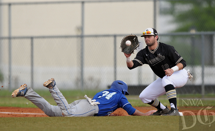 NWA Democrat-Gazette/BEN GOFF @NWABENGOFF<br /> Tim Howard, Rogers runner, returns safe to first base ahead of a pickoff throw to Bentonville first baseman Tyler Johnson Monday, April 17, 2017, during the third inning at the Tiger Athletic Complex in Bentonville.