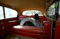 The back seat of the English black Austin A135 Princess Vanden Plas Limousine, own now by the Commander Idi Abdul Tarak in the Panshir Valley, autumn 2001