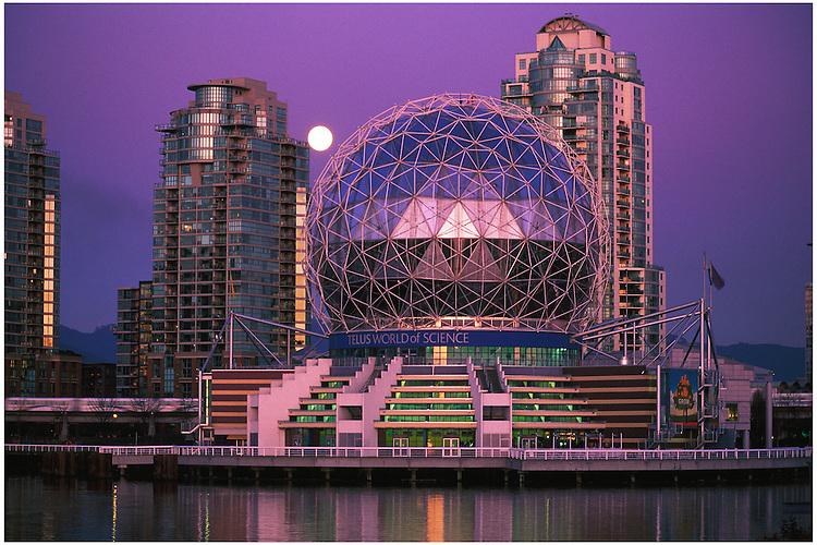 Science World, Citygate towers, skytrain, full moon at twilight, False Creek, Vancouver, BC.