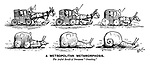"""A Metropolitan Metamorphosis. The awful result of persistent """"crawling."""" (a Victorian cartoon shows a horse drawn taxi cab gradually morphing into a snail during a London traffic jam)"""