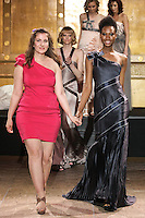 Austrian fashion designer Magdalena Adriane Toth, walks runway with models at the close of her Magdalena Adriane fashion show, during the Slovak Fashion Night, May 13, 2011.