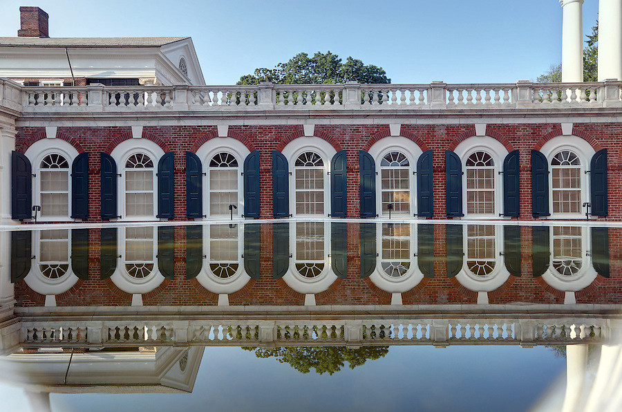 A reflection of the newly renovated University of Virginia Rotunda in a reflecting pond outside the World Heritage Site on campus at UVa in Charlottesville, Va. Photo/Andrew Shurtleff