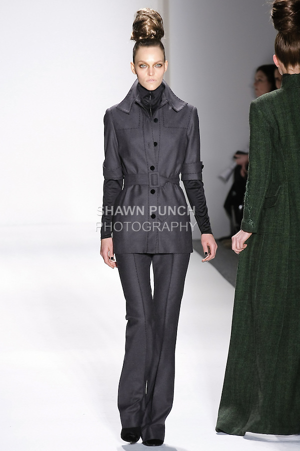 Model walks runway in an outfit from the Zang Toi Fall 2011 Timeless Beauties collection, during Mercedes-Benz Fashion Week Fall 2011.