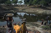 Village women are seen working in road construction within the NREGA (National Rural Employment Guarantee Act) in Medawar Kalan in Ballia district of Uttar Pradesh, India. Photo: Sanjit Das/Panos