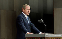 Former United States President George W. Bush  speaks at the opening ceremony of the Smithsonian National Museum of African American History and Culture on September 24, 2016 in Washington, DC. The museum is opening thirteen years after Congress and President George W. Bush authorized its construction. <br /> Credit: Olivier Douliery / Pool via CNP / MediaPunch