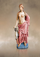 Painted colour verion of 2nd century AD Roman marble sculpture of Aphrodite 2nd - 1st century BC Roman marble sculpture of Aphrodite (Venus), 'Marine Venus' Type with a dolphin, copied from a Hellanistic Greek original,  inv 6296, Naples Museum of Archaeology, Italy, white background