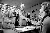 24 Feb 1980, Ottawa, Ontario, Canada --- Canadian Prime Minister Pierre Trudeau casts his vote during the legislative elctions on May 22. He was the fifteenth Prime Minister of Canada from April 20,1968 to June 4, 1979, and March 3, 1980 to June 30, 1984. --- Image by © JP Laffont