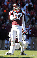 Nov 27, 2010; Charlottesville, VA, USA;  Virginia Tech Hokies kicker Chris Hazley (97) during the game against the Virginia Cavaliers at Lane Stadium. Virginia Tech won 37-7. Mandatory Credit: Andrew Shurtleff