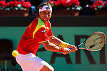 06.04.2012 Oropesa, Spain. 1/4 Final Davis Cup. David Ferrer in action during second match of 1/4 final game of Davis Cup played at Oropesa town.