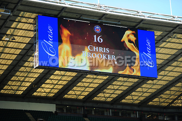 Team announcement on the big screen. The Clash, Aviva Premiership match, between Bath Rugby and Leicester Tigers on April 8, 2017 at Twickenham Stadium in London, England. Photo by: Patrick Khachfe / Onside Images