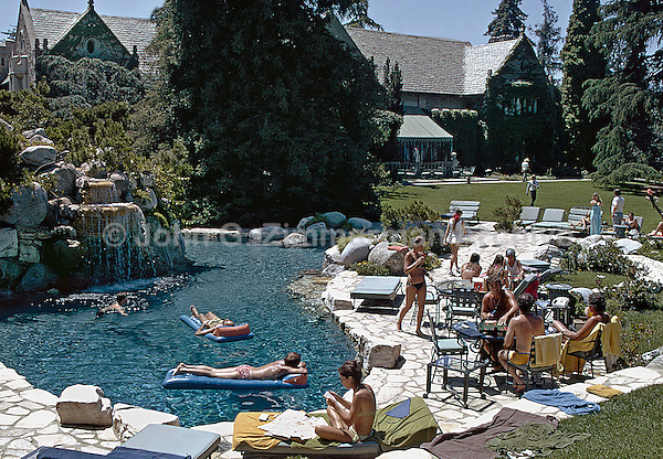 Playboy Mansion pool and grounds, Los Angeles, 1973. Photo by John G. Zimmerman.