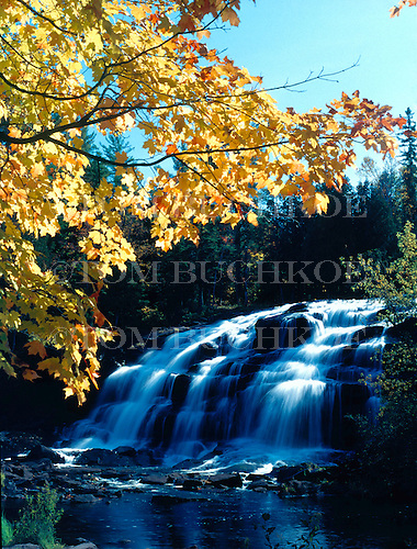 Bond Falls on the middle branch of the Ontonagon River in Ontonagon county in Michigan's Upper Peninsula during fall color.