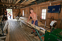 Prisoner making plank in a workshop...Bast&oslash;y Prison/Horten/Norway. &copy;Fredrik Naumann/Felix Features