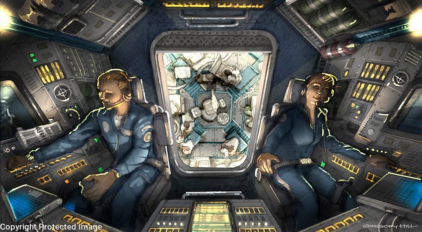 """This is the key illustration I did showing the """"nose cam"""" view of the Cockpit, through the hatch and down to the floor of the Command Module."""