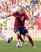 USA midfielder Michael Bradley (4) on the attack. In a friendly match, Spain defeated USA, 4-0, at Gillette Stadium on June 4, 2011.
