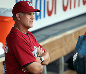 Lehigh Valley IronPigs manager and former Chicago Cubs star Ryne Sandberg pauses before the Durham Bulls vs. Lehigh Valley baseball game on Thursday, August 4, 2011. Lehigh won 5-3. Photo by Al Drago.