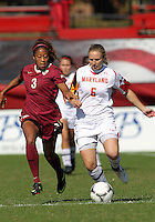 COLLEGE PARK, MD - OCTOBER 21, 2012:  Marisa Kresge (6) of the University of Maryland races for the ball with Casey Short (3) of Florida State during an ACC women's match at Ludwig Field in College Park, MD. on October 21. Florida won 1-0.