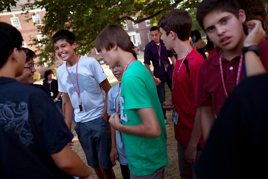 Rural Connections scholar Alex Garcia, left, hangs with friends after dinner at the Center for Talented Youth summer program at Lafayette College in Easton, PA on July 06, 2012. Several students were part of the Rural Connections scholarship program being offered for the first time this year.