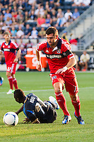 Gonzalo Segares (13) of the Chicago Fire. The Chicago Fire defeated the Philadelphia Union 3-1 during a Major League Soccer (MLS) match at PPL Park in Chester, PA, on August 12, 2012.