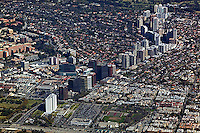 aerial photograph Wilshire Boulevard, Los Angeles, California