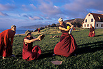Monks at Nova Scotia's Gampo Abbey practive softball, Canada, 2004.<br />