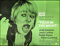 BNPS.co.uk (01202 558833)<br /> Pic: Cottees/BNPS<br /> <br /> Fear In The Night 1972 Hammer Horror film poster, starring Judy Geeson.<br /> <br /> A horror fan has sold his chilling collection of cult movie posters - for a shocking &pound;25,000.<br /> <br /> The unnamed film buff collected over 100 posters that advertised scary movies like Dracula, Frankenstein, The Wicker Man and the Hammer Horror franchise.<br /> <br /> He has now sold them at Cottees Auctions of Wareham, Dorset, with one rare Dracula poster fetching over &pound;5,000 alone.