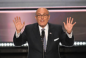 Former Mayor Rudy Giuliani (Republican of New York) makes remarks at the 2016 Republican National Convention held at the Quicken Loans Arena in Cleveland, Ohio on Monday, July 18, 2016.<br /> Credit: Ron Sachs / CNP<br /> (RESTRICTION: NO New York or New Jersey Newspapers or newspapers within a 75 mile radius of New York City)