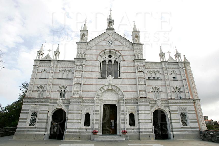 La facciata del Santuario di Montallegro, presso Rapallo.<br /> The main front of the sanctuary of Montallegro, near Rapallo.<br /> UPDATE IMAGES PRESS/Riccardo De Luca