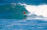 Former World Surfing Champion Pam Burridge (AUS) runner up in the Quit Women's Classic part of the 1997 Rip Curl Pro at Bells Beach, Torquay, Victoria, Australia. Photo joliphotos.com