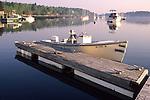 Boat Docked in Ebenecook Harbor in Southport, Maine