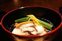Hoshinoya soup with Lilt Root, Jew's Ear Fungus, Local Trout, Carrot &amp; Spinach.<br />