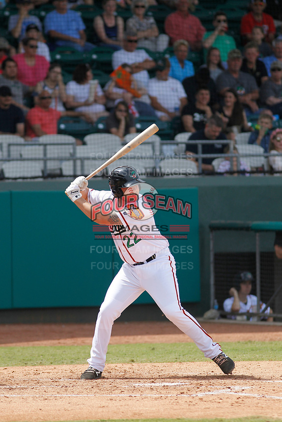 Down East Wood Ducks first baseman Chuck Moorman (22) at bat during a game against the Salem Red Sox at Grainger Stadium on April 16, 2017 in Kinston, North Carolina. Salem defeated Down East 9-2. (Robert Gurganus/Four Seam Images)