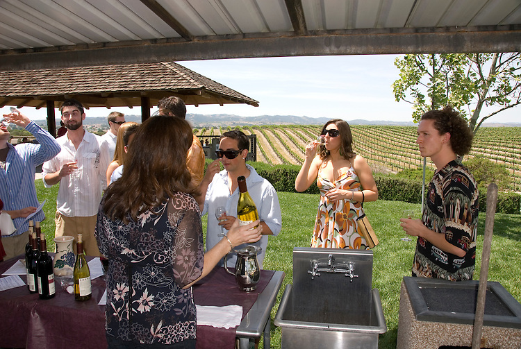 California, San Luis Obispo County: At Eberle Winery and vineyards in Paso Robles, noted for red wines. People tasting wines..Photo caluis127-70787. .Photo copyright Lee Foster, www.fostertravel.com, 510-549-2202, lee@fostertravel.com