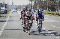 Peter Sagan (SVK/Bora-Hansgrohe) &amp; Niki Terpstra (NED/Quick-Step Floors) in teh last 15 kilometers of the race<br /> <br /> 79th Gent-Wevelgem 2017 (1.UWT)<br /> 1day race: Deinze &rsaquo; Wevelgem - BEL (249km)