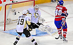 3 February 2009: Pittsburgh Penguins' goaltender Marc-Andre Fleury gives up a first period goal to the Montreal Canadiens at the Bell Centre in Montreal, Quebec, Canada. The Canadiens defeated the Penguins 4-2. ***** Editorial Sales Only ***** Mandatory Photo Credit: Ed Wolfstein Photo