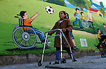 Palestinians disabled take part in a rally marking the Palestinian disabled Day, in Rafah in the southern Gaza strip on Dec. 07, 2015. Photo by Abed Rahim Khatib