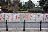 WARSAW, POLAND, December 21, 2016<br /> Writings on the riot fence by the Sejm. &quot;Fence of the disgrace of PiS (Law&amp;Justice party)&quot;<br /> Parliamentary crisis. Members of parliament from opposition parties PO (Civic Platform) and Nowoczesna (Modern) are occupying the plenary hall of the Sejm (Polish parliament), since 16-th december. On the right - Grzegorz Schetyna, head of PO.<br /> The opposition objects to government plans to drastically limit the number of journalists allowed to cover parliamentary proceedings. The opposition MPs' protest delayed a budget 2017 vote, which was later held away from the main parliament chamber and is now considered unlawful, which sparks further protest.<br /> (Photo by Piotr Malecki / Napo Images)<br /> ****<br /> WARSZAWA, 21.12.2016. <br /> Napis na plocie przed sejmem.<br /> Poslowie plocie pozycji z partii PO i Nowoczesna pozostaja w sali planarnej Sejmu,  nie opuszczajac jej od szesciu dni i planuja pozostanie do nastepnego posiedzenia 11 stycznia. Jest to dzialanie w obronie wolnosci mediow i przeciwko uchwaleniu budzetu przez partie rzadzaca w innej sali, bez obecnosci poslow opozycji. <br /> fot. Piotr Malecki / Napo Images<br /> <br /> ###ZDJECIE MOZE BYC UZYTE W KONTEKSCIE NIEOBRAZAJACYM OSOB PRZEDSTAWIONYCH NA FOTOGRAFII### ### Cena zdjecia w/g cennika FORUM plus 50% (cena minimalna 100 PLN)