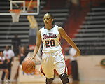 "Ole Miss' Kayla Melson (20) dribbles at the C.M. ""Tad"" Smith Coliseum in Oxford, Miss. on Thursday, November 18, 2010. Arizona won 72-70."