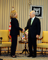 President Shimon Peres of Israel, right, shakes hands with United States Secretary of State Hillary Rodham Clinton at the Presidential Residence in Jerusalem, Israel, on Wednesday, September 15, 2010. .Credit: Department of State via CNP. /MediaPunch