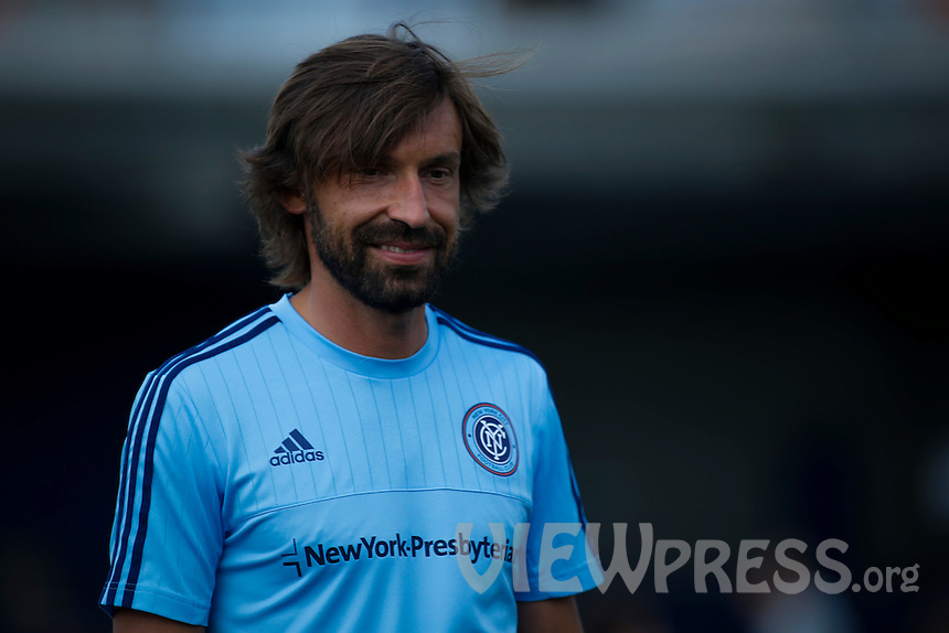 Andrea Pirlo attends a training with kids after a press conference with his new team New York City FC at Manhattan in New York. 07.23.2015.  Eduardo MunozAlvarez/VIEWpress.